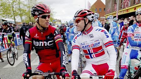 Thor Hushovd og Alexander Kristoff før starten på andre etappe av Giro d'Italia i danske Herning. (Foto: Solum, Stian Lysberg/NTB scanpix)