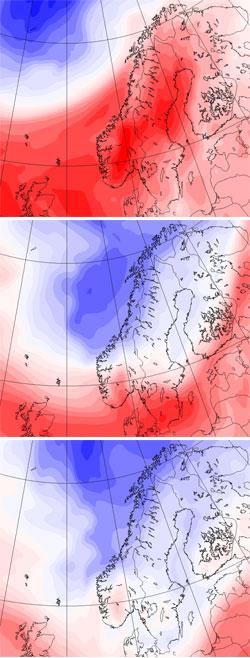 Temperaturen faller ti grader fra søndag (øverst) til mandag (midten) og tirsdag (nederst). (Foto: StormGeo)