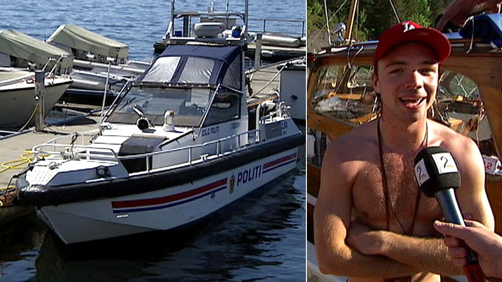 FRITT FRAM: Carl Eliassen synes det er helt greit at politibåten ikke er på sjøen på grunn av streik. (Foto: TV 2)