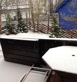 Snøvær i Tromsø 28. mai. (Foto: Egil Pettersen)