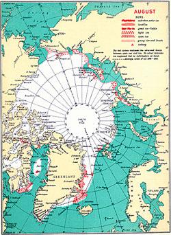 Flere gamle iskart bekrefter det de russiske kartene viste;   store deler av polhavet var isfritt for 80 år siden. Dette kartet viser   situasjonen i august 1938. Nesten hele nordøstpassasjen er åpen. (Foto:   DMI)