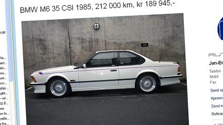 BMW M635 CSi er både vakker, rå og sjelden. Og nå begynner de å bli overkommelige i pris også. Denne Alpina-hvite utgaven er til og med solgt ny i Norge. Faksimile: Finn.no