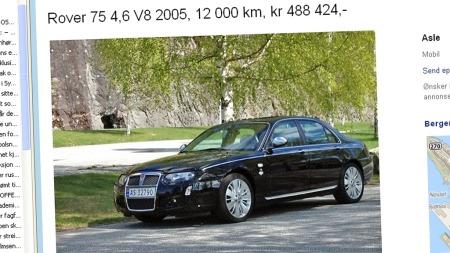 Den annonserte bilen skal ifølge selgeren være en av kun 15 produserte med venstreratt - og den eneste i Skandinavia. Faksimile: Finn.no