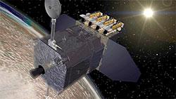 SDO-satellitten veier 3100 kilo, og skal observere solen i mellom fem og ti år. (Foto: NASA)