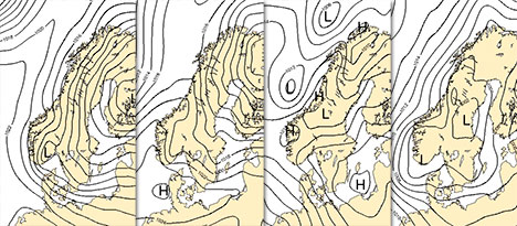 Her er fire av 50 prognoser for fredag 15. juni. Linjene er trykket ved bakken. Prognosene gir vidt forskjellig vær. (Foto: StormGeo)