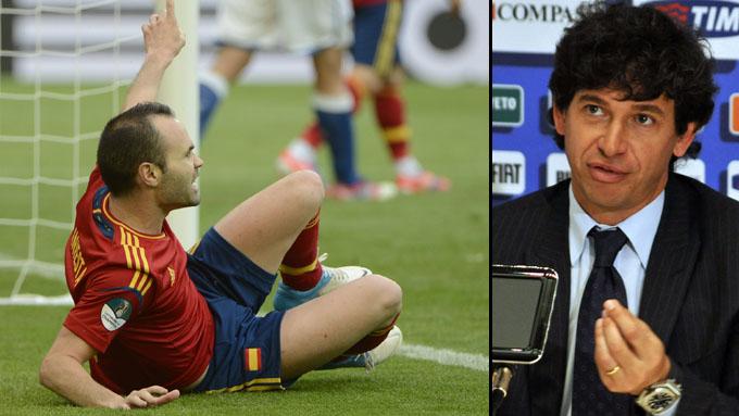 VILLE IKKE VANNE BANEN: Det italienske laget ville ikke at banen skulle vannes før EM-åpningen mot Spania.
