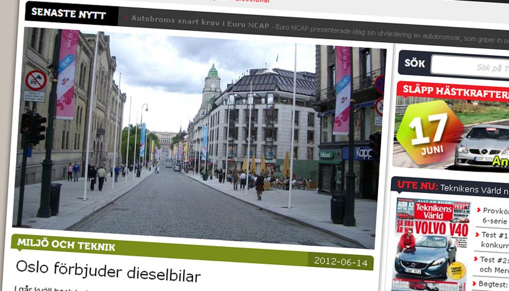 Skjermdump av Teknikens Världs hjemmeside.