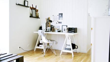 Dette er hjemmekontoret til «Sommerjenten» - en av kandidatene   i «Norges vakreste hjem».