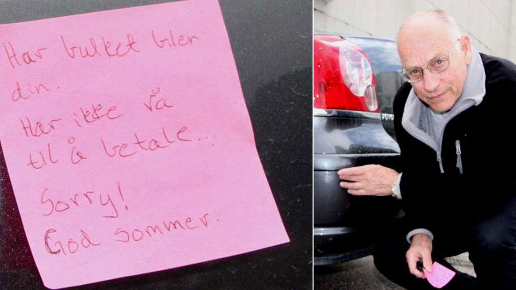 GOD SOMMER: Roald Andersen fant denne lappen på bilen etter en handletur.  (Foto: Gro Smith/ Vesteraalens Avis)