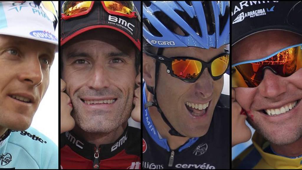 KVARTETT: Levi Leipheimer, Geoge Hincapie, Christian Vande Velde og David Zabriskie har tilstått doping, og skal ha sagt seg villig til å vitne mot Armstrong. (Foto: MONTASJE/)