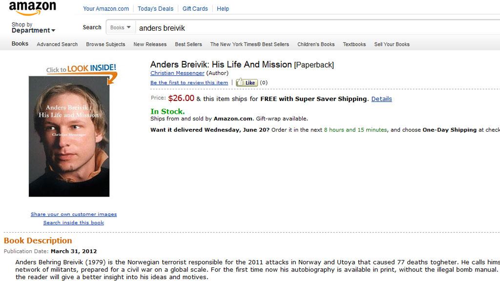 MANIFEST: Nettbokhandelen Amazon selger en redigert versjon av Breiviks såkalte manifest. (Foto: SKJERMDUMP)