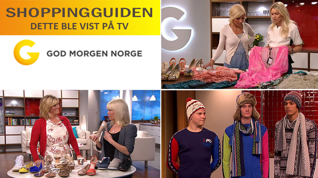 SHOPPINGGUIDE: Her finner du merker og priser på klær, sko og tilbehør som vises på tv i God morgen Norge.  (Foto: God morgen Norge)