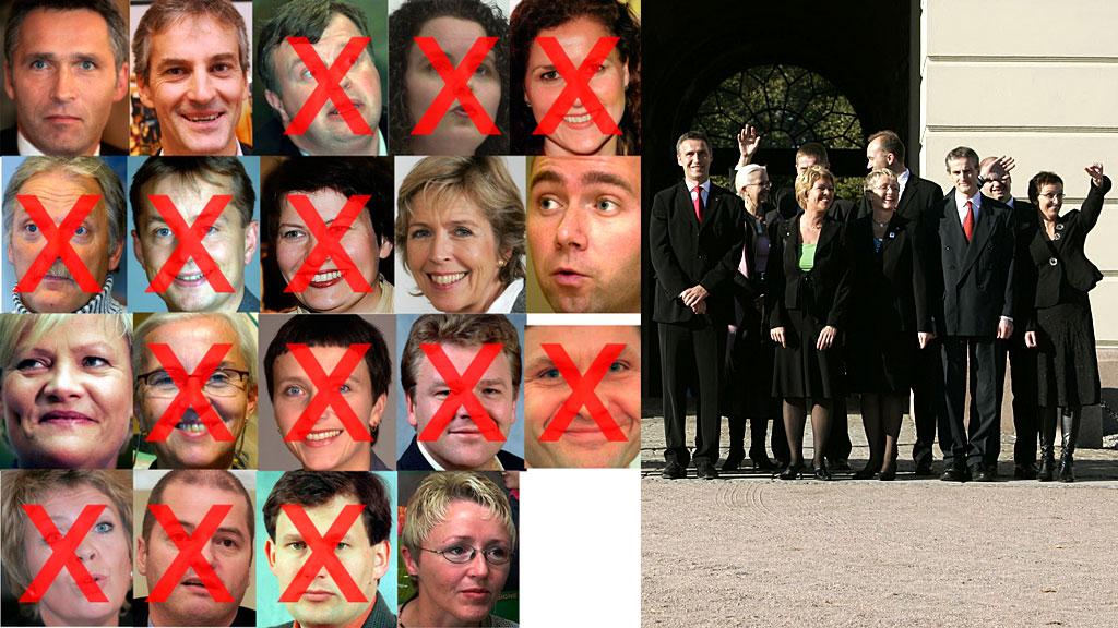 Disse statsrådene har forlatt den rødgrønne regjeringen i perioden 2005 - juni 2012 (Foto: Montasje: SCANPIX)