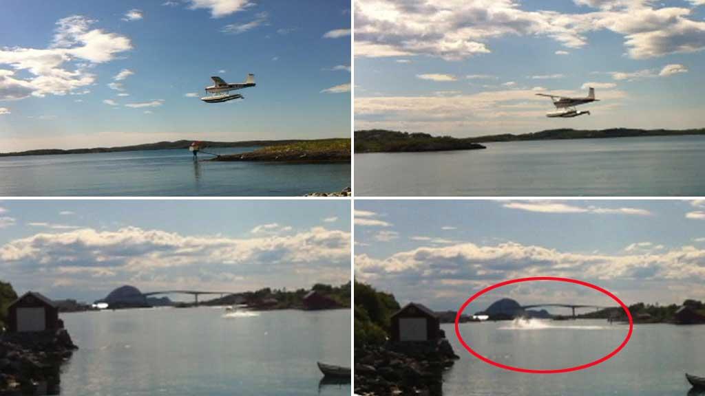 FILMET HAVARIET: Piloten ser ut til å ha full kontroll fram til flyet skjener til høyre og kantrer like etter landing. (Foto: Privat)