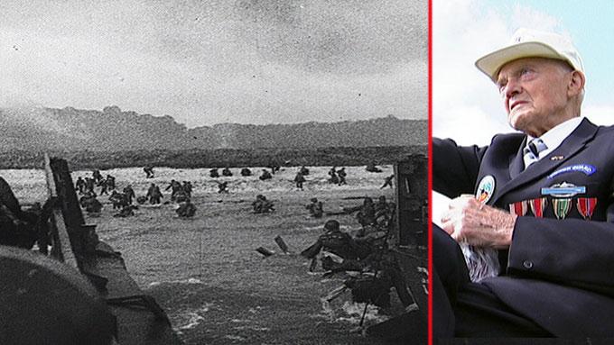 VAR MED I NORMANDIE: John Pettersen fra Radøy var med i den norske  bataljonen under verdenskrig - en bataljon bestående av soldater med norsk  bakgrunn. De var blant annet annet med i landgangen på Omaha Beach i Normandie.  (Foto: Joachim Storvik/TV 2)