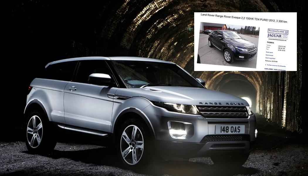 Range Rover Evoque er en kul, morsom og annerledes bil. Det beste av alt er at den som bruktbil ikke koster avskrekkende mye heller! Foto: Faksimile fra finn.no