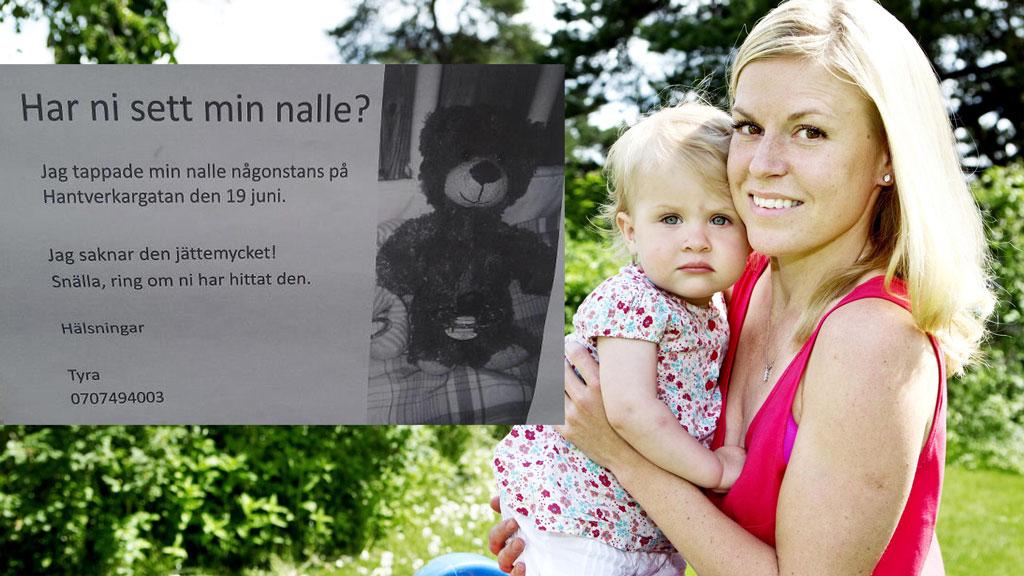 HVOR ER TYRAS NALLE? Lille Tyra (1) mistet sin favorittbamse. Etter at politiet etterlyste bamsen på Facebook har saken gått verden rundt. Her med mamma Kristin Blomqvist. (Foto: Privat/Aftonbladet)