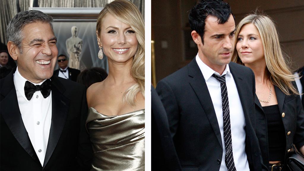 SUPERFERIE: Superstjernene Clooney og Aniston befinner seg på ferie i Europa med sine utkårede.