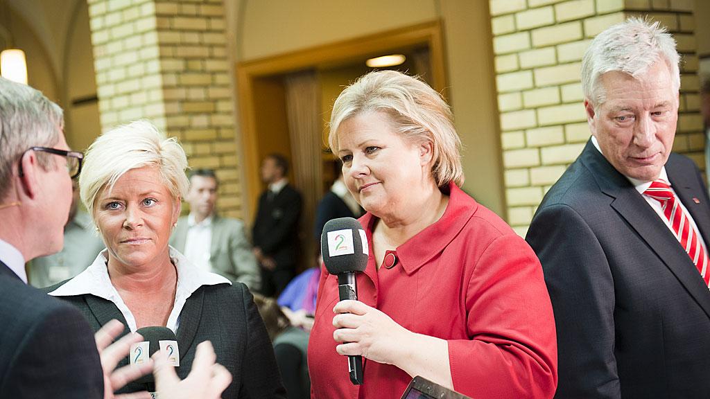 Erna Solberg Siv Jensen og Sigbjørn Johnsen (Foto: SCANPIX)