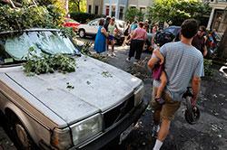 Trærene lå strødd på Capitol Hill i washibngton DC lørdag. (Foto: Reuters)