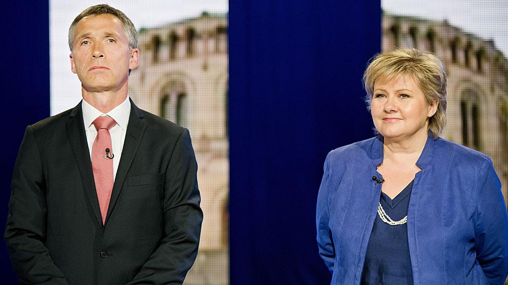 Statsminister Jens Stoltenberg (Ap) og Erna Solberg (H) under partilederdebatten på TV 2 i jmai 2012. (Foto: SCANPIX)
