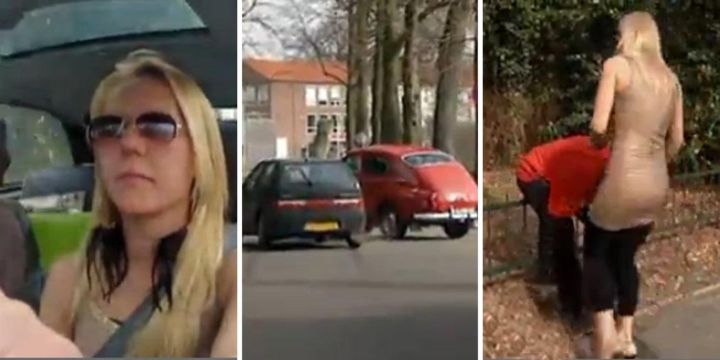 """Hun er med i programmet """"Nederlands verste sjåfører"""" - og det tar ikke lang tid å skjønne hvorfor. Mannen som eier den klassiske Volvoen er utrøstelig etter at 13 års innsats er ødelagt. VIDEO: Liveleak.com"""