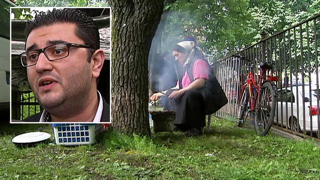 FÅ DEM VEKK: Mazyar Keshvari fra Frp har liten sympati for romfolket som har slått seg ned på Sofienberg. (Foto: TV 2)
