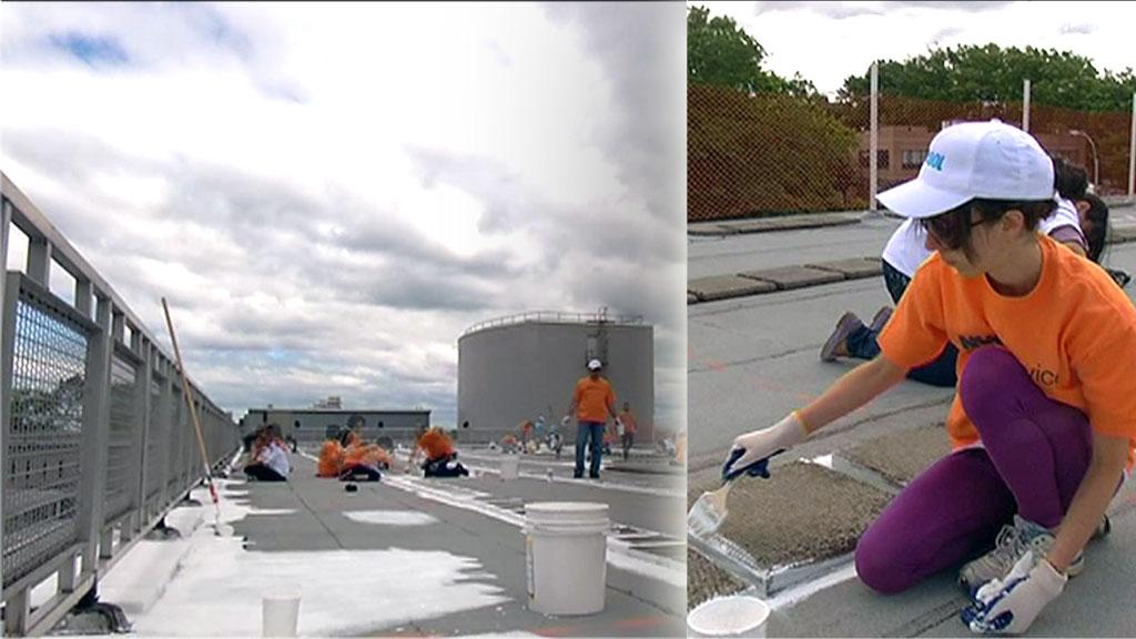 HVITE TAK: Med malerkost og lysreflekterende hvitmaling skal New York bekjempe klimagassutslippene. (Foto: Santiago Vergara / TV 2)