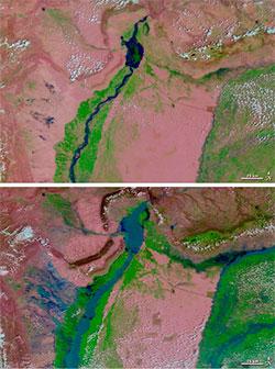 Det øverste bildet viser den øvre delen av Indus 1. august 2009,   det nederste samme område under flommen 31. juli 2010. (Foto: NASA)