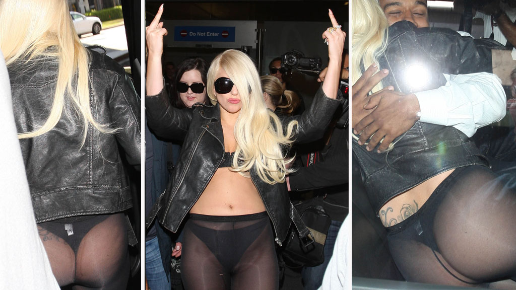 FRISK OG FIN: Lady Gaga kastet opp under en konsert. Disse bildene er tatt ved en annen anledning.