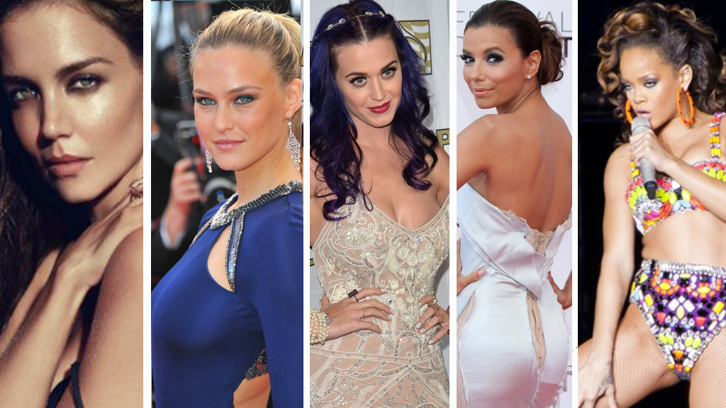 SEXY: F.v. Katie Holmes, Bar Refaeli, Katy Perry, Eva Longoria og Rihanna.