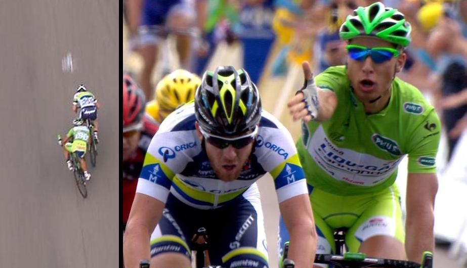 Peter Sagan ble illsint på Matthew Goss for det han mente var en uren spurt på den 12. etappen av Tour de France 2012. (Foto: TV 2)
