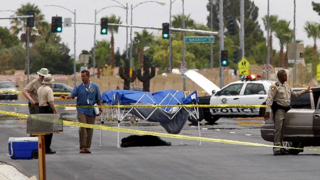 SKUTT AV POLITIET: En av sjimpansene som var på rømmen i Las Vegas ble skutt av politiet. (Foto: STEVE MARCUS/Reuters)