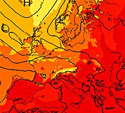 Slik blir det torsdag ettermiddag, og dette er typisk for temperaturene fremover. Mørkest rødt er 30-35 grader, rødt 20-25, orange 15-20, mørkegult 10-15, og lys gult 5-10 grader. (Foto: StormGeo)