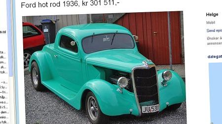 300.000 kroner er det som skal til for å overta nøklene til denne bilen. 80-tallsnostalgikere som oss vil mene at både farger og stuk er nøyaktig slik det bør være - uansett er dette en bit norsk bilhistorie. (Foto: Privat)