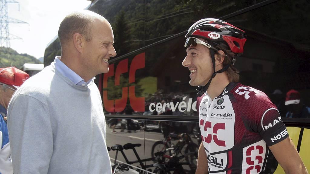 Bjarne Riis og Fabian Cancellara (Foto: EDDY RISCH/AP)