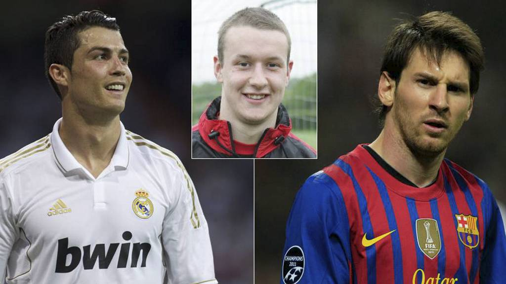 Cristiano Ronaldo, Lionel Messi og Les Davies (Foto: Bildemontasje/AFP/welshpremier.com)