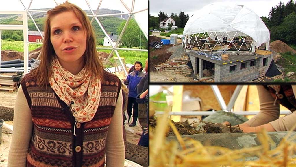 MILJØHUS: Huset som Ingrid Hjertefølger bygger seg på Gildeskål i Nordland er unikt i Norge. (Foto: Tord Theodor Olsen/TV 2)