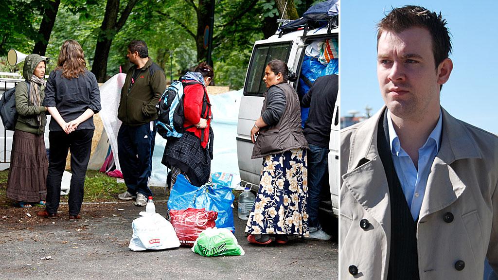 Morten Myksvoll sitter i Bergen bystyre for Frp. Romfolk i Oslo.  Montasje (Foto: Scanpix/ Frp/ montasje)