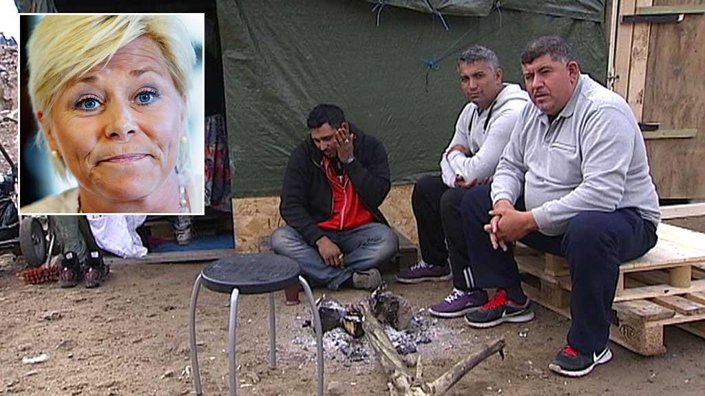 NOK ER NOK: Siv Jensen har liten sympati for romfolket som har slått leir på Årvoll. (Foto: TV 2/Scanpix)