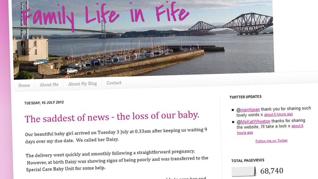 På bloggen «Family Life in Fife» fortalte Debbie Chalmers alt om svangerskapet sitt. (Foto: FAKSIMILE)