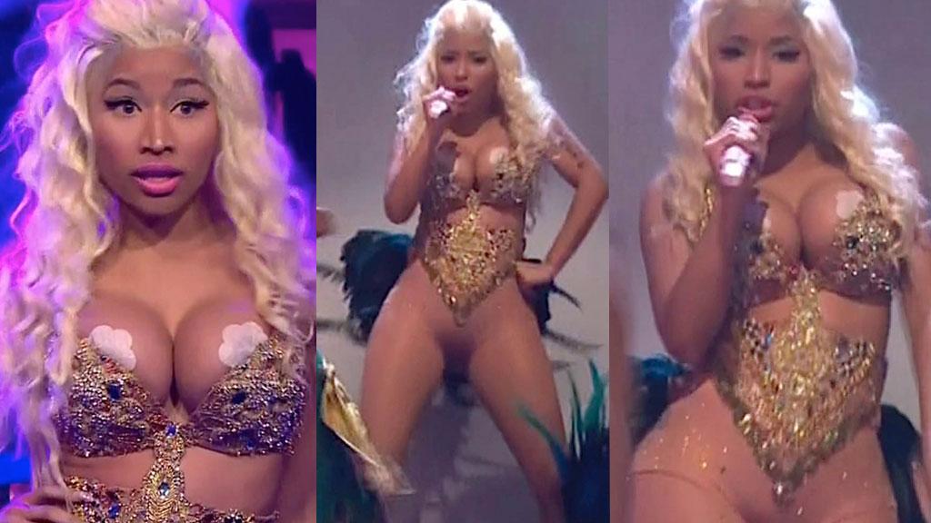 LETTKLEDD: Nicki Minaj sparte ikke på kruttet under fremføringen av låten «Pound The Alarm» i talkshowet «The Tonight Show with Jay Leno».