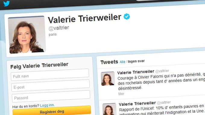 Twitter-kontoen til Valerie Trierweiler. (Foto: FAKSIMILE)