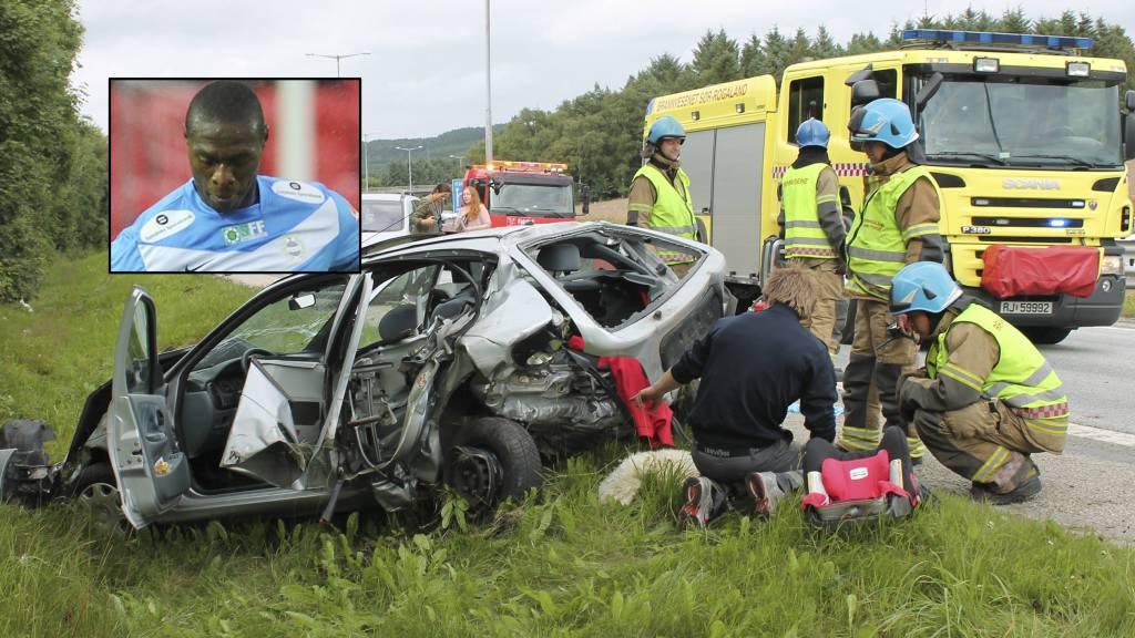 Sandnes Ulf-spiller Edier Frejd (innfelt) satt i bilen som ble knust i en stygg ulykke på motorveien lørdag. (Foto: Ronny Hjertås/)