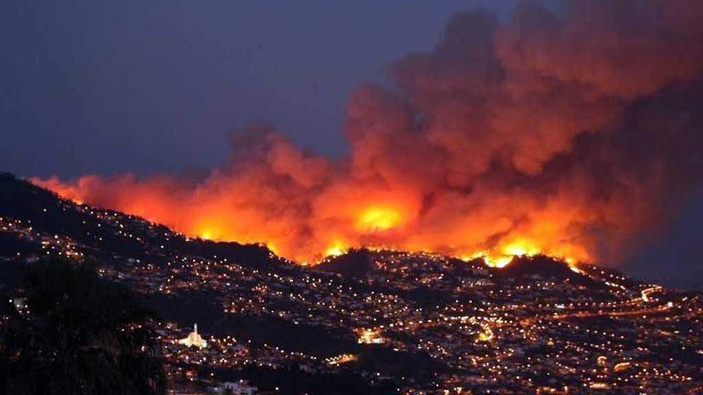 BRANN: Det brenn kraftig på Madeira.  (Foto: Privat)