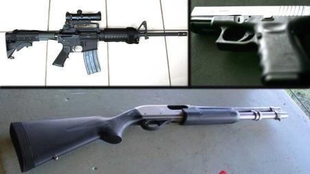 VÅPEN: Dette er de tre våpnene som James Holmes skal ha brukt.  Oppe til venstre automatvåpenet AR-15, en Glock .40 kaliber og en Remington 870-hagle. (Foto: Jmajonis/Stag1500/Wikimedia Commons/Scanpix)