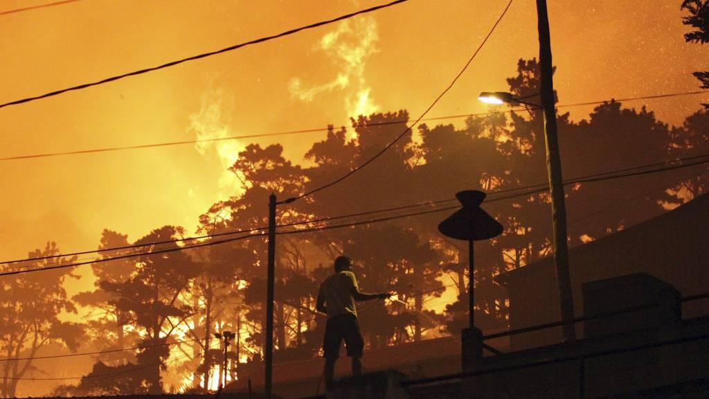 Mange steder på Madeira spyler nå huseiere takene sine med vann i det flammene slikker over tretoppene like bak. (Foto: Joana Sousa/Ap)