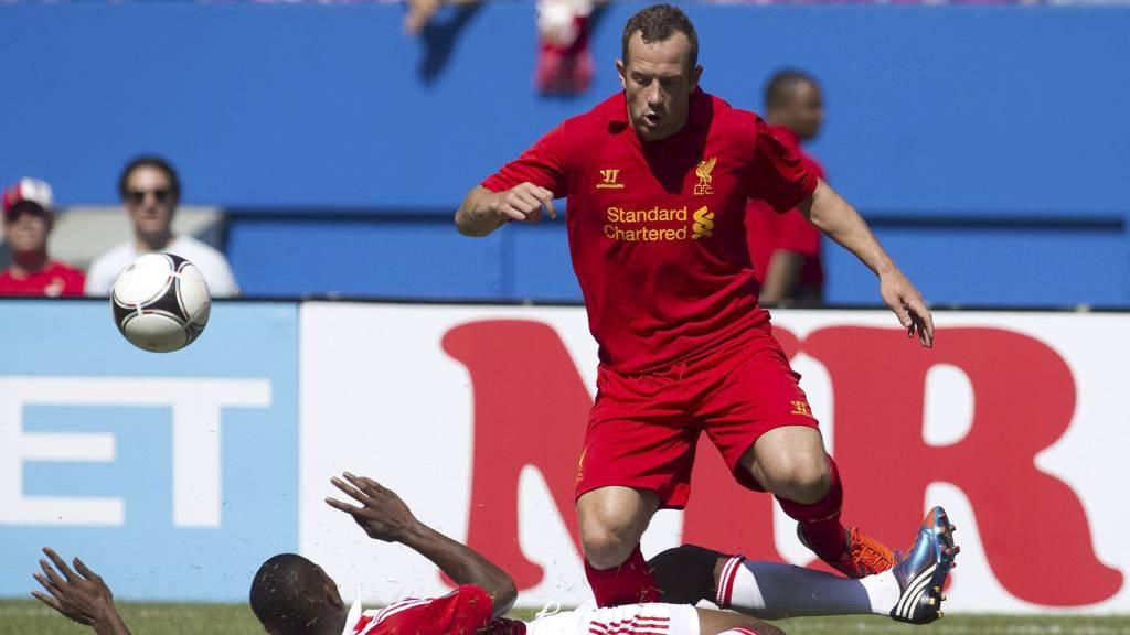 SCORET: Charlie Adam scoret Liverpools mål mot Roma. (Foto: Chris Young/Ap)