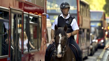 AKSJON: Politi og hester deltar på den største sikkerhetsoperasjonen i fredstid. (Foto: ODD ANDERSEN/Afp)