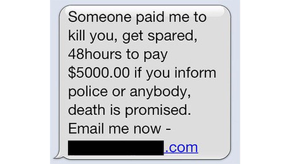 LEIEMORDER: Politiet forteller at folk ikke må få panikk hvis de mottar en slik SMS. (Foto: NEW SOUTH WALES POLICE FORCE)